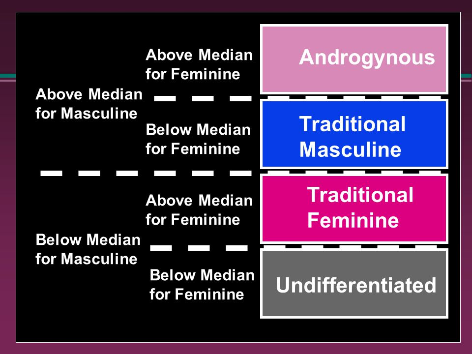 Androgynous Traditional Feminine Traditional Masculine Undifferentiated Above Median for Masculine Below Median for Masculine Above Median for Feminine Above Median for Feminine Below Median for Feminine Below Median for Feminine