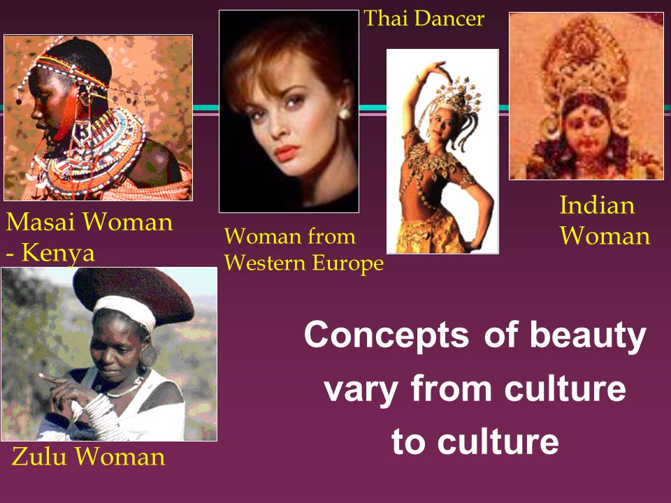 Concepts of beauty vary from culture to culture Woman from Western Europe Zulu Woman Masai Woman - Kenya Indian Woman Thai Dancer