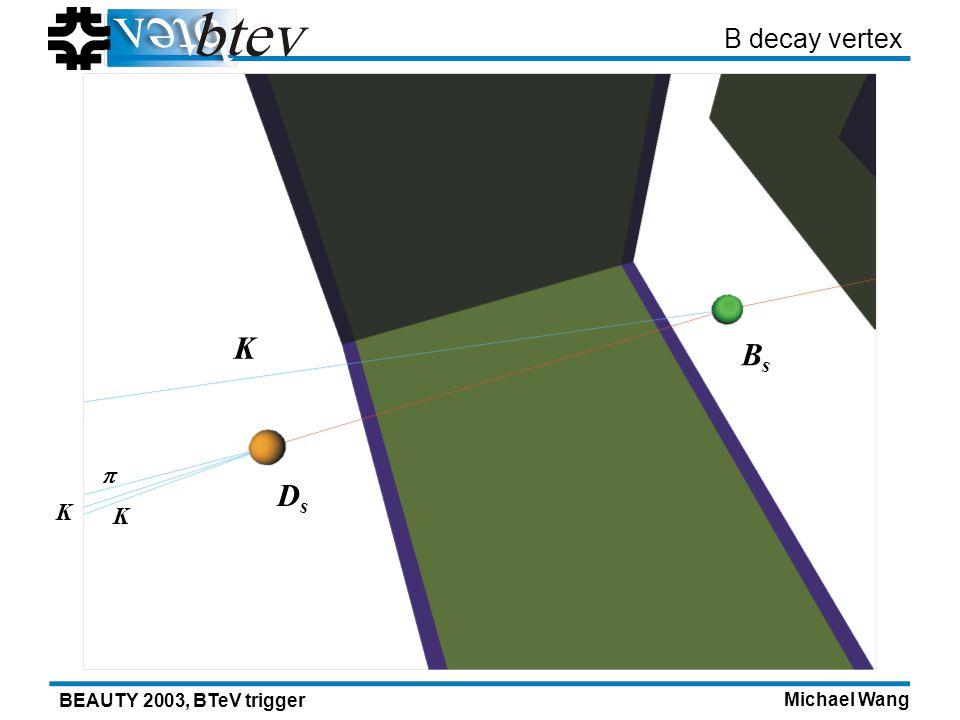 Michael Wang BEAUTY 2003, BTeV trigger B decay vertex DsDs K K K BsBs