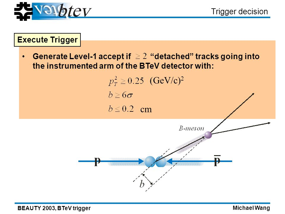 Michael Wang BEAUTY 2003, BTeV trigger Generate Level-1 accept if detached tracks going into the instrumented arm of the BTeV detector with: (GeV/c) 2