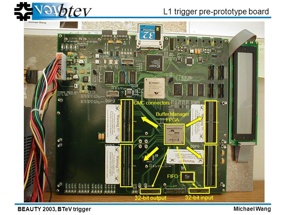Michael Wang BEAUTY 2003, BTeV trigger L1 trigger pre-prototype board 32-bit input 32-bit output FIFO Buffer Manager FPGA CMC connectors