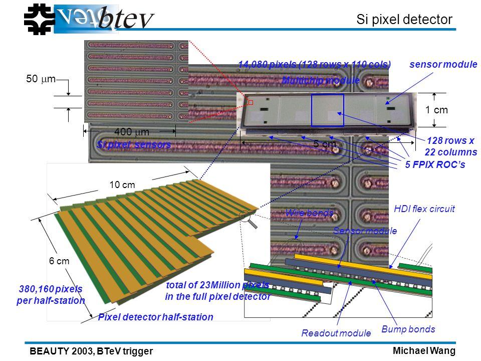 Michael Wang BEAUTY 2003, BTeV trigger Pixel detector half-station Multichip module Si pixel detector 50 m 400 m 5 cm 1 cm 6 cm 10 cm HDI flex circuit