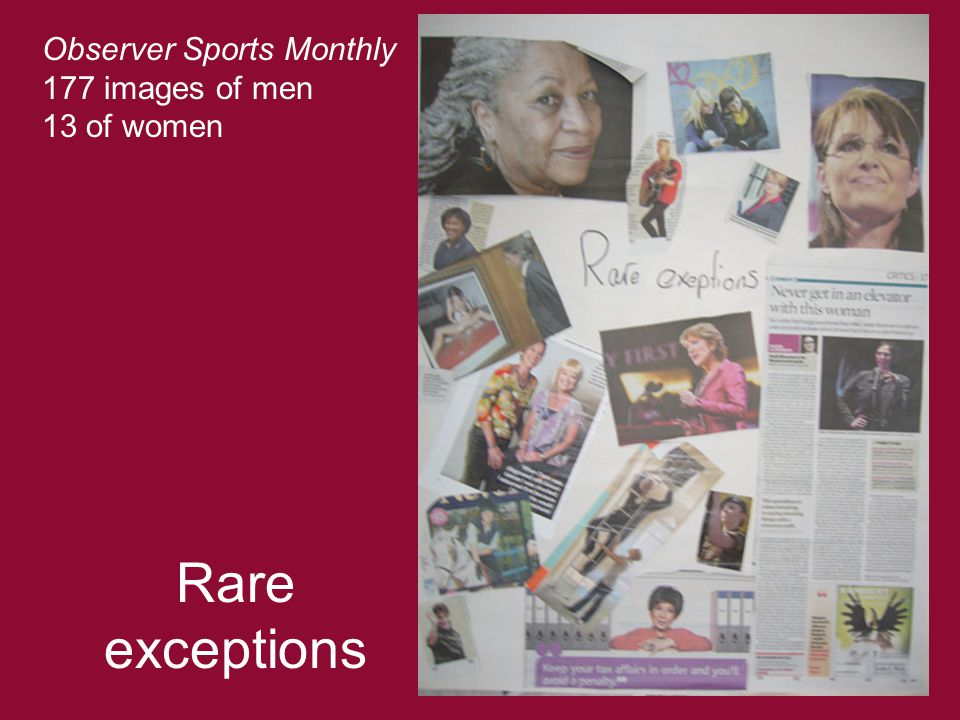 Rare exceptions Observer Sports Monthly 177 images of men 13 of women