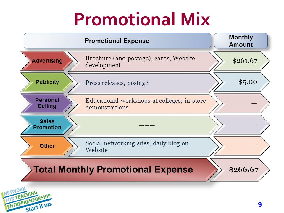 9 Promotional Mix Advertising Brochure (and postage), cards, Website development $261.67 Publicity Press releases, postage $5.00 Personal Selling Educational workshops at colleges; in-store demonstrations.