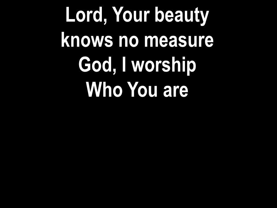 Lord, Your beauty knows no measure God, I worship Who You are