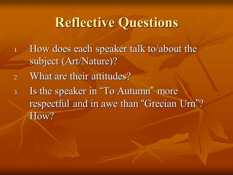 Reflective Questions 1.How does each speaker talk to/about the subject (Art/Nature).