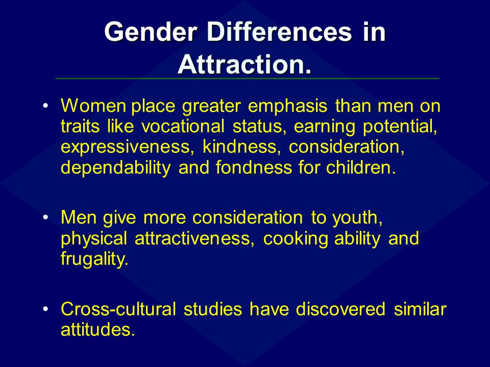 Gender Differences in Attraction. Women place greater emphasis than men on traits like vocational status, earning potential, expressiveness, kindness,
