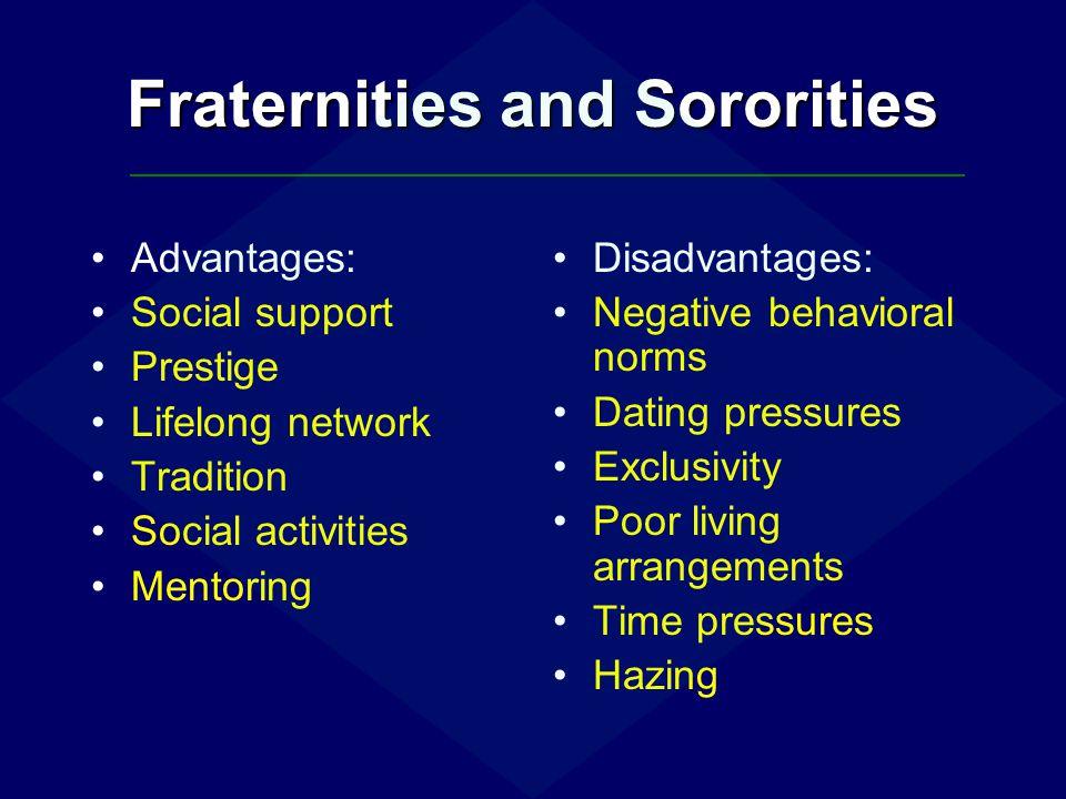 Fraternities and Sororities Advantages: Social support Prestige Lifelong network Tradition Social activities Mentoring Disadvantages: Negative behavio