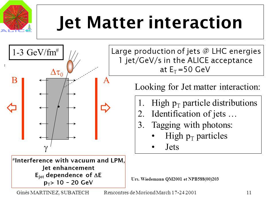Ginés MARTINEZ, SUBATECHRencontres de Moriond March 17-24 200111 Jet Matter interaction BA 1-3 GeV/fm # # Interference with vacuum and LPM, Jet enhanc