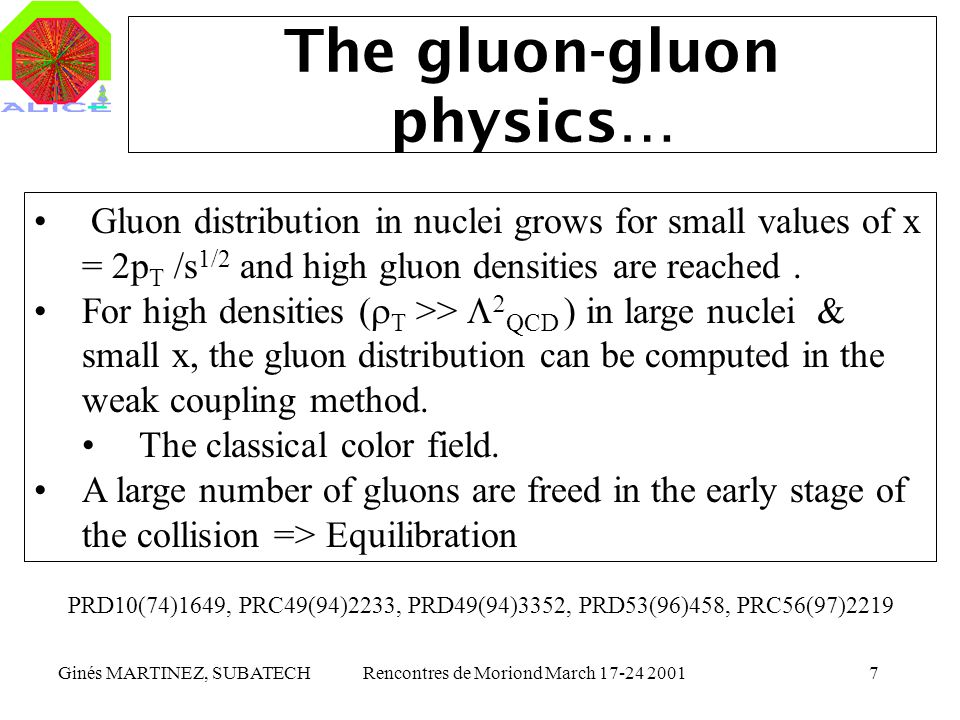 Ginés MARTINEZ, SUBATECHRencontres de Moriond March 17-24 20017 The gluon-gluon physics… Gluon distribution in nuclei grows for small values of x = 2p