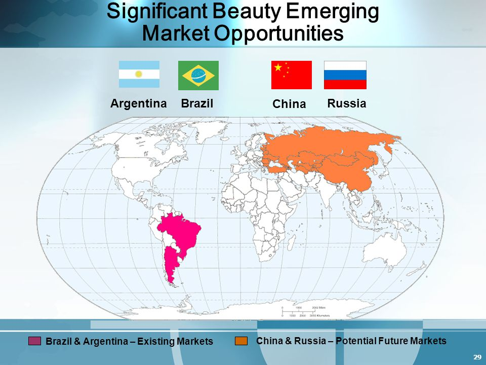 29 Significant Beauty Emerging Market Opportunities ArgentinaBrazil China Brazil & Argentina – Existing Markets China & Russia – Potential Future Markets Russia