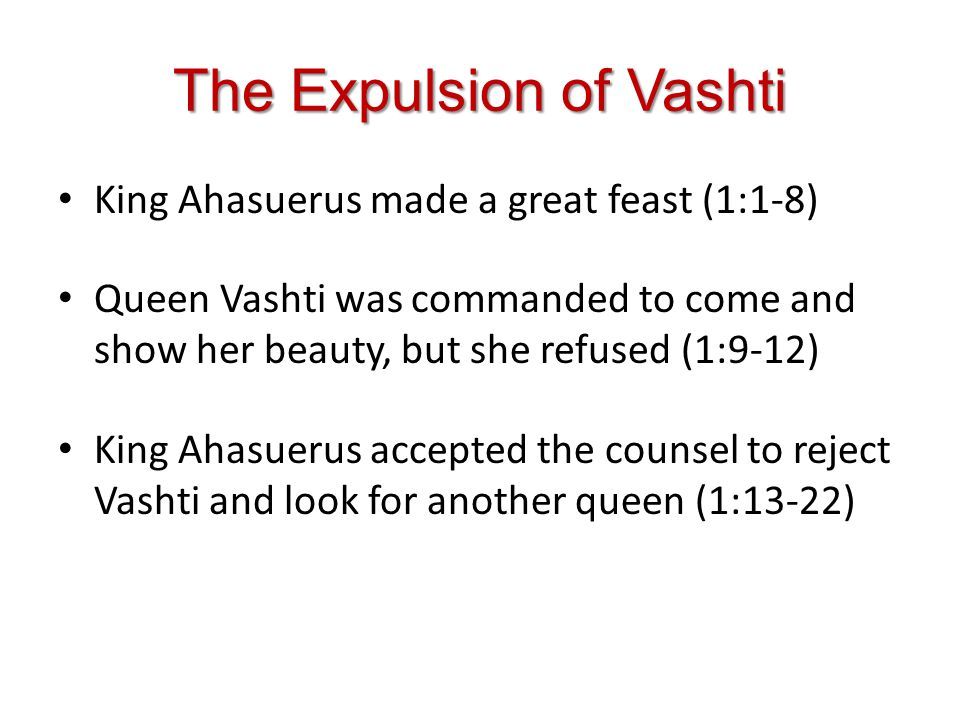 The Elevation of Esther Fair, young virgins were brought to Shushan to be purified for selection (2:1-4) Hadassah (Esther) was taken in with the other virgins and given special treatment (2:5-11) Esther obtained favor in the sight of the king and was selected as queen (2:12-18) Mordecai saved the kings life (2:19-23)