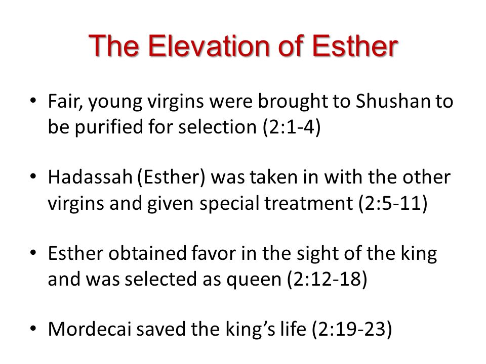 The Extermination of Jews Mordecai refused to bow down to Haman, so Haman wanted to kill all the Jews (3:1-5) Haman made request of the king to have the Jews destroyed and the decree was sent out (3:7-15) The Jews mourned the impending doom and Esther was made aware of the problem (4:1-8)