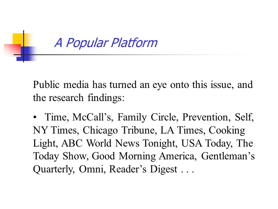 A Popular Platform Public media has turned an eye onto this issue, and the research findings: Time, McCalls, Family Circle, Prevention, Self, NY Times