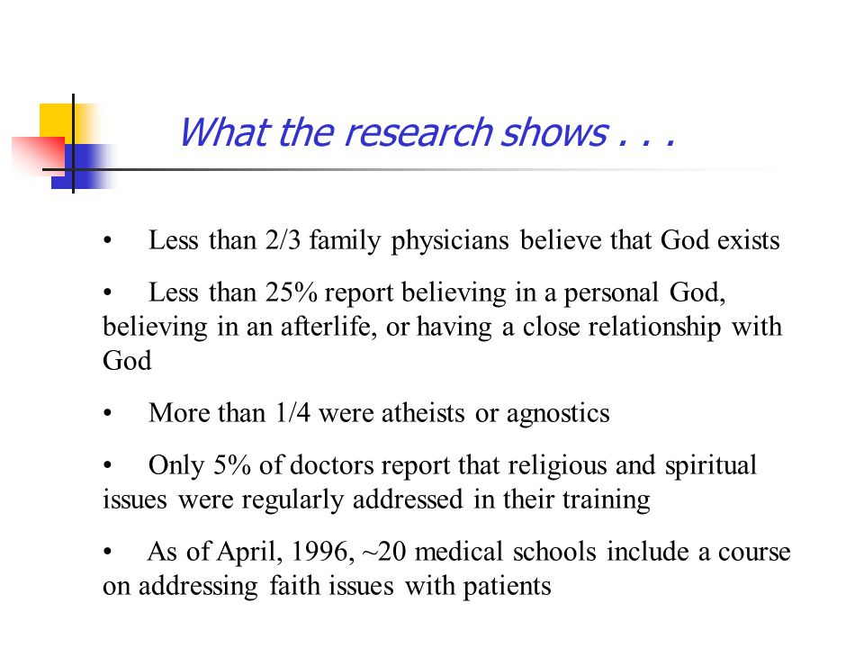 What the research shows... Less than 2/3 family physicians believe that God exists Less than 25% report believing in a personal God, believing in an a