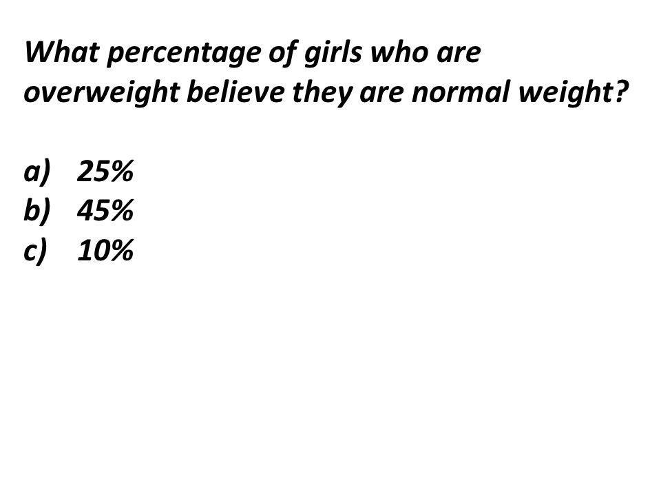 What percentage of girls who are overweight believe they are normal weight a)25% b)45% c)10%