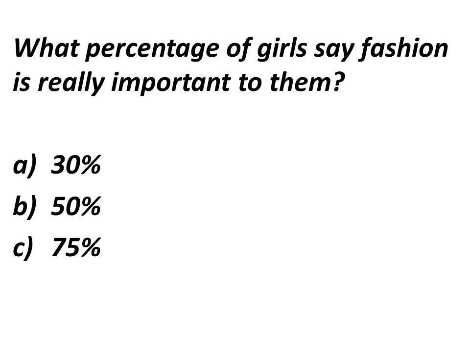 What percentage of girls say fashion is really important to them a)30% b)50% c)75%