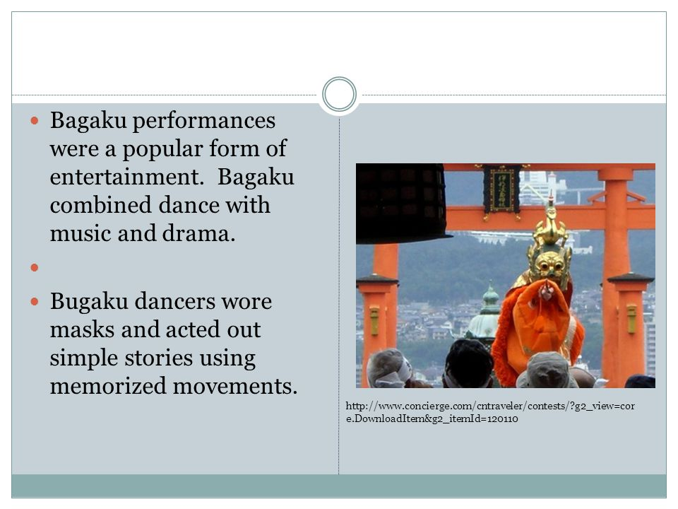 Bagaku performances were a popular form of entertainment.