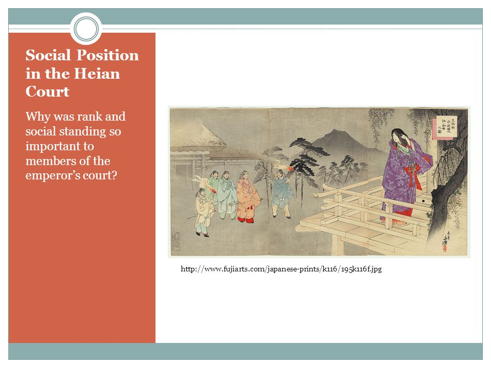 Social Position in the Heian Court Why was rank and social standing so important to members of the emperors court.