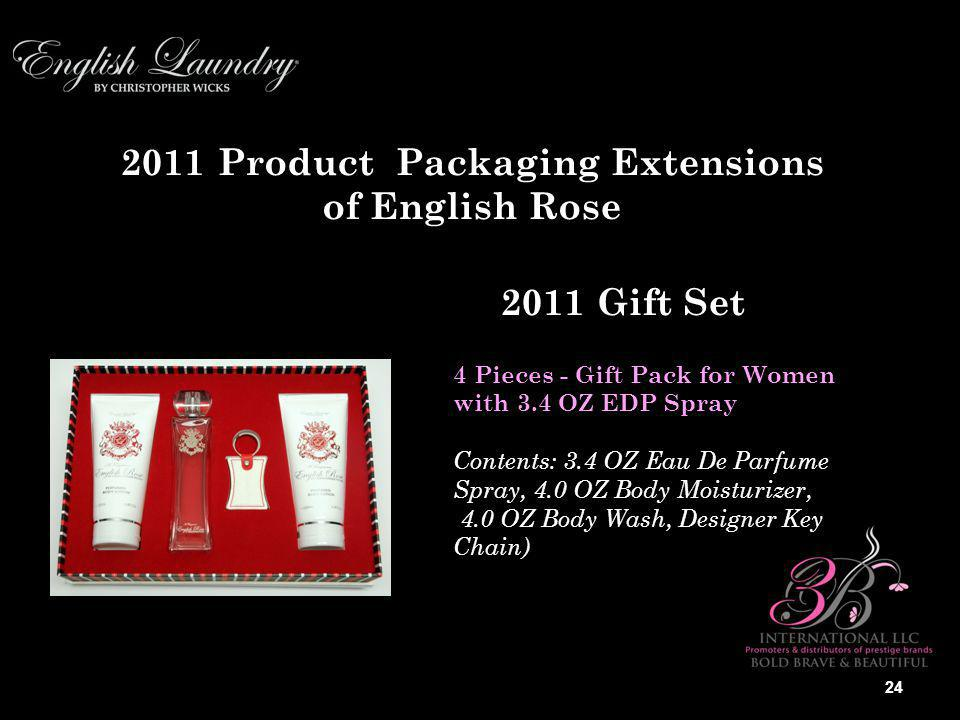 2011 Product Packaging Extensions of English Rose 4 Pieces - Gift Pack for Women with 3.4 OZ EDP Spray Contents: 3.4 OZ Eau De Parfume Spray, 4.0 OZ Body Moisturizer, 4.0 OZ Body Wash, Designer Key Chain) 2011 Gift Set 24