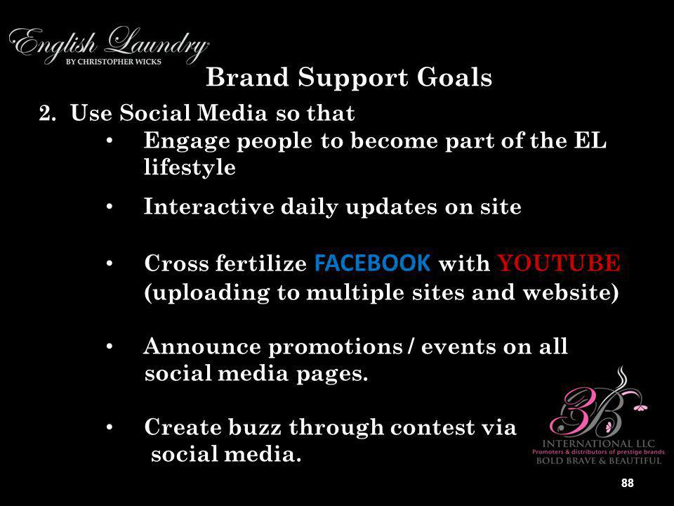 Brand Support Goals Social Media so that 2. Use Social Media so that Engage people to become part of the EL lifestyle Engage people to become part of