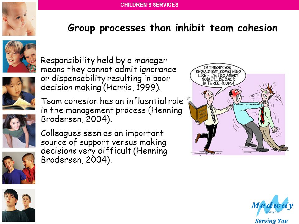 CHILDRENS SERVICES Group processes than inhibit team cohesion Team Splitting and allocation of roles (Belbin, 1981).