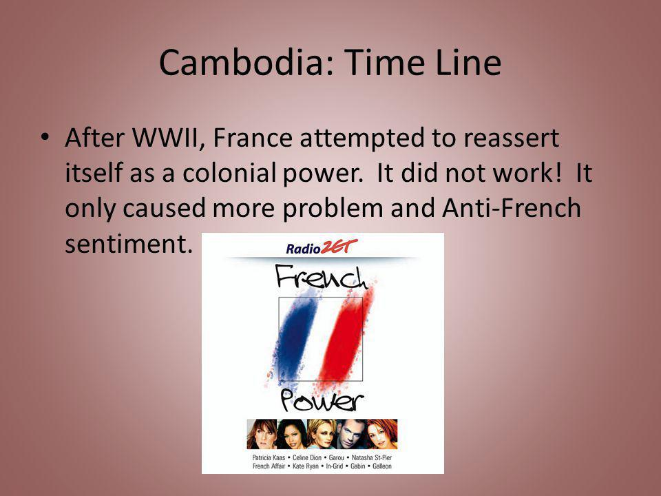 Cambodia: Time Line After WWII, France attempted to reassert itself as a colonial power.