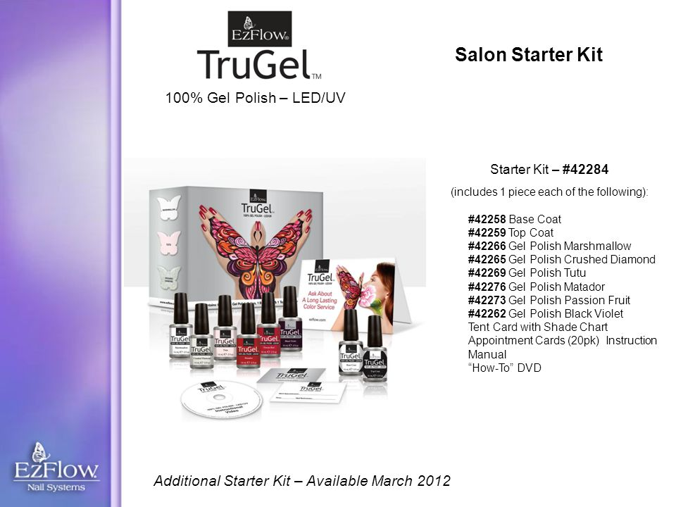 Salon Starter Kit #42258 Base Coat #42259 Top Coat #42266 Gel Polish Marshmallow #42265 Gel Polish Crushed Diamond #42269 Gel Polish Tutu #42276 Gel Polish Matador #42273 Gel Polish Passion Fruit #42262 Gel Polish Black Violet Tent Card with Shade Chart Appointment Cards (20pk) Instruction Manual How-To DVD Starter Kit – #42284 (includes 1 piece each of the following): 100% Gel Polish – LED/UV Additional Starter Kit – Available March 2012