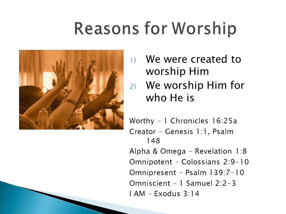 1) We were created to worship Him 2) We worship Him for who He is 3) We worship Him for what He has done Hebrews 12:28