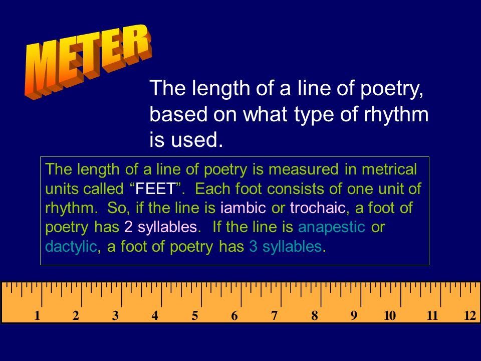 (This is where its going to start sounding like geometry class, so you left-brainers are gonna love this!) Each set of syllables is one foot, and each line is measured by how many feet are in it.