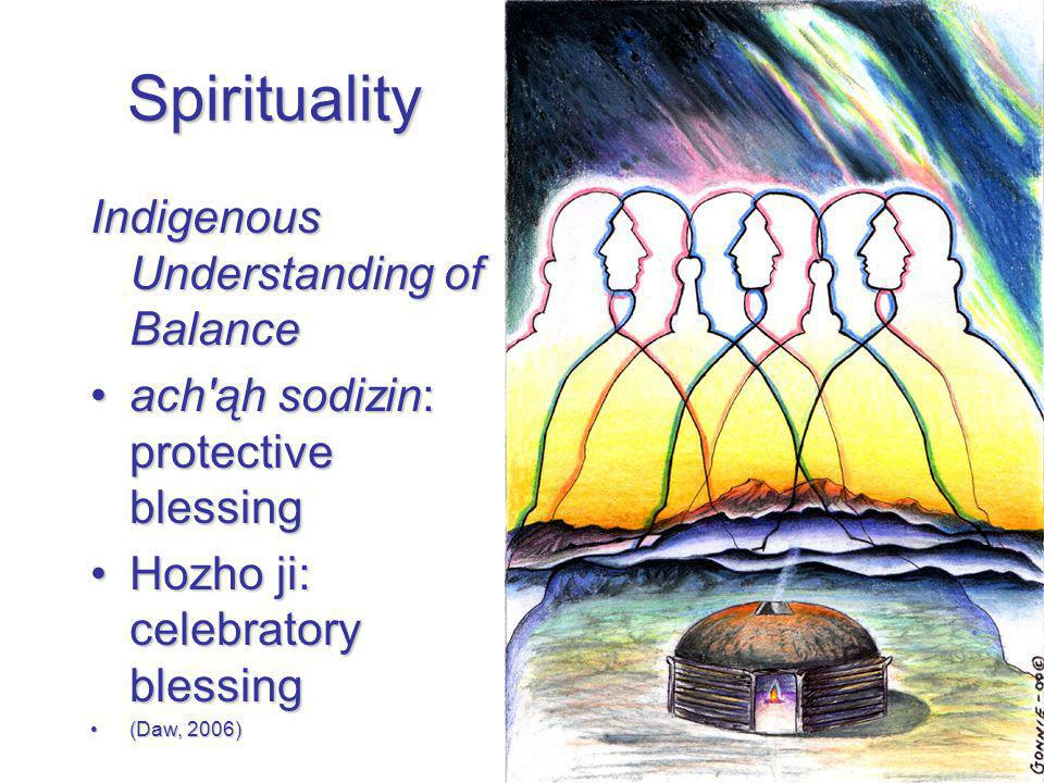 Spirituality Indigenous Understanding of Balance ach ąh sodizin: protective blessingach ąh sodizin: protective blessing Hozho ji: celebratory blessingHozho ji: celebratory blessing (Daw, 2006)(Daw, 2006)