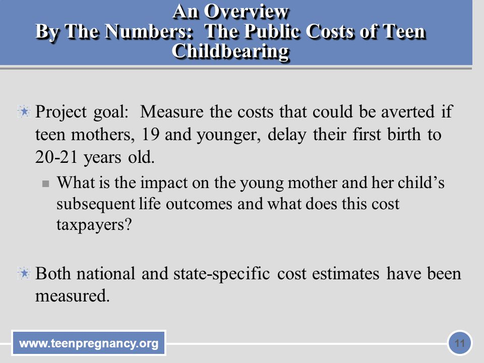 www.teenpregnancy.org 11 An Overview By The Numbers: The Public Costs of Teen Childbearing Project goal: Measure the costs that could be averted if teen mothers, 19 and younger, delay their first birth to 20-21 years old.