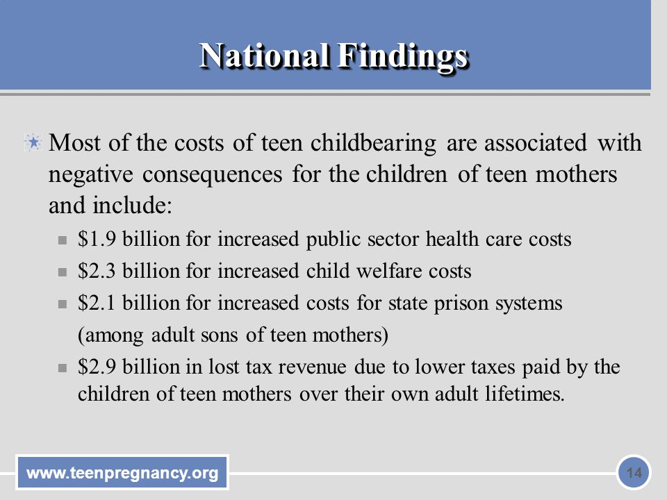 www.teenpregnancy.org 14 National Findings Most of the costs of teen childbearing are associated with negative consequences for the children of teen mothers and include: $1.9 billion for increased public sector health care costs $2.3 billion for increased child welfare costs $2.1 billion for increased costs for state prison systems (among adult sons of teen mothers) $2.9 billion in lost tax revenue due to lower taxes paid by the children of teen mothers over their own adult lifetimes.
