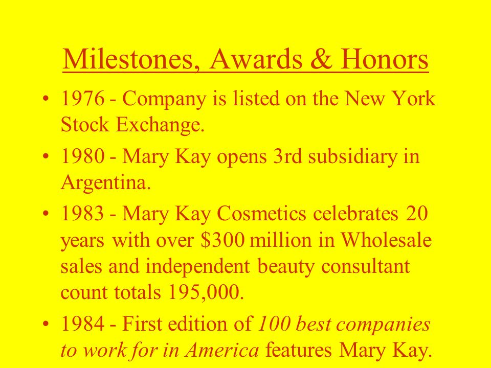Milestones, Awards & Honors 1976 - Company is listed on the New York Stock Exchange.