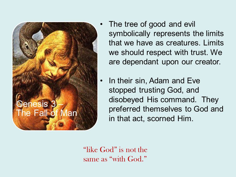 Genesis 3 – The Fall of Man The tree of good and evil symbolically represents the limits that we have as creatures. Limits we should respect with trus