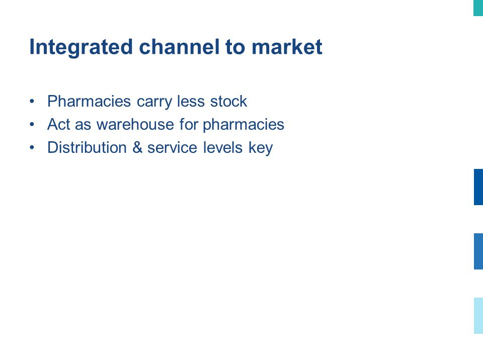 Integrated channel to market Pharmacies carry less stock Act as warehouse for pharmacies Distribution & service levels key