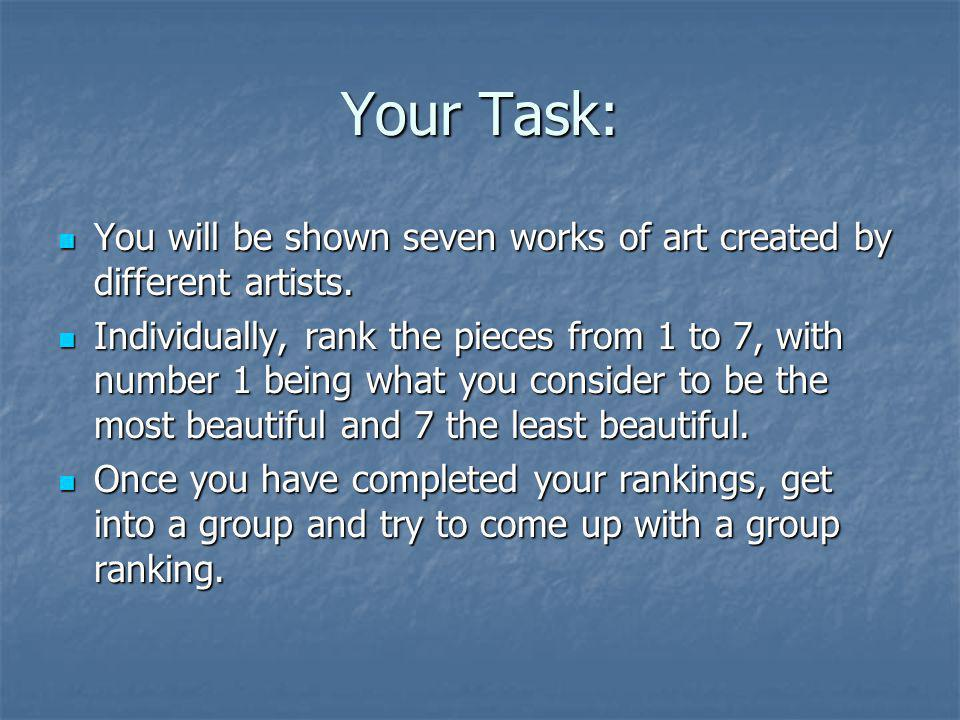 Your Task: You will be shown seven works of art created by different artists. You will be shown seven works of art created by different artists. Indiv