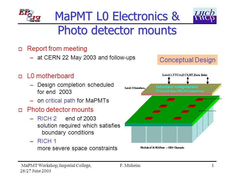 1 MaPMT Workshop, Imperial College, 26/27 June 2003 F.