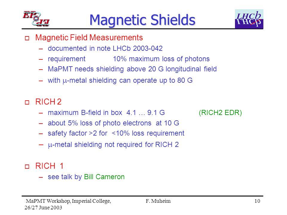 10 MaPMT Workshop, Imperial College, 26/27 June 2003 F.