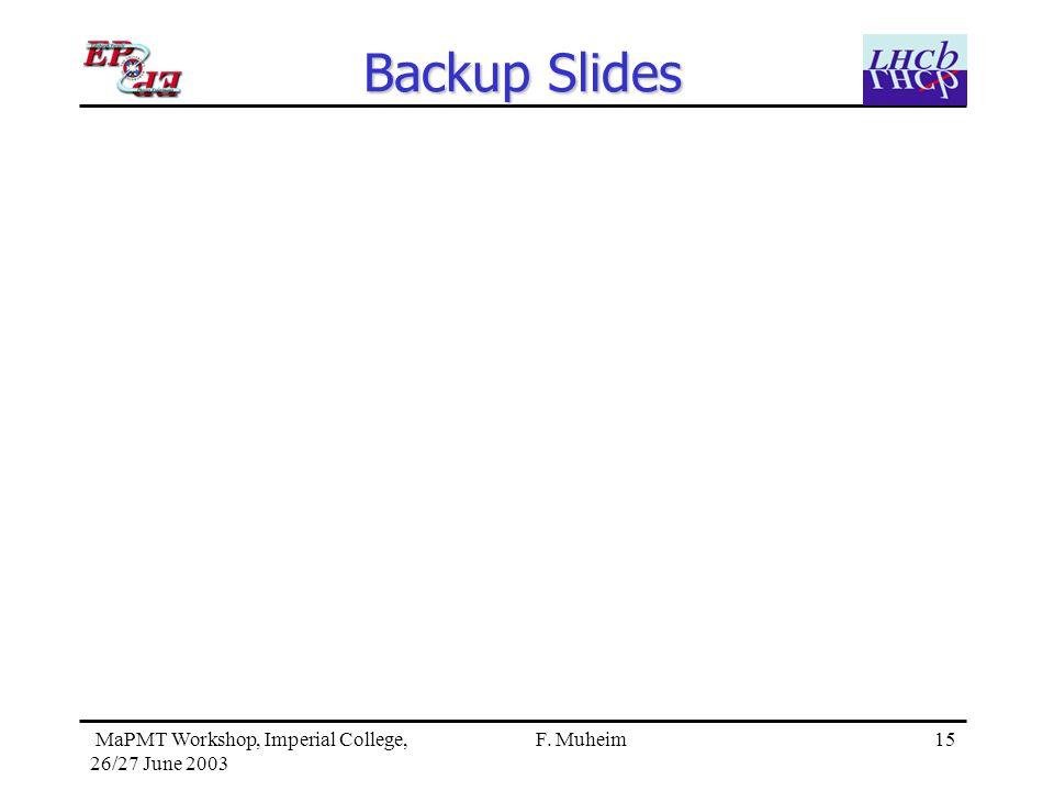 15 MaPMT Workshop, Imperial College, 26/27 June 2003 F. Muheim Backup Slides