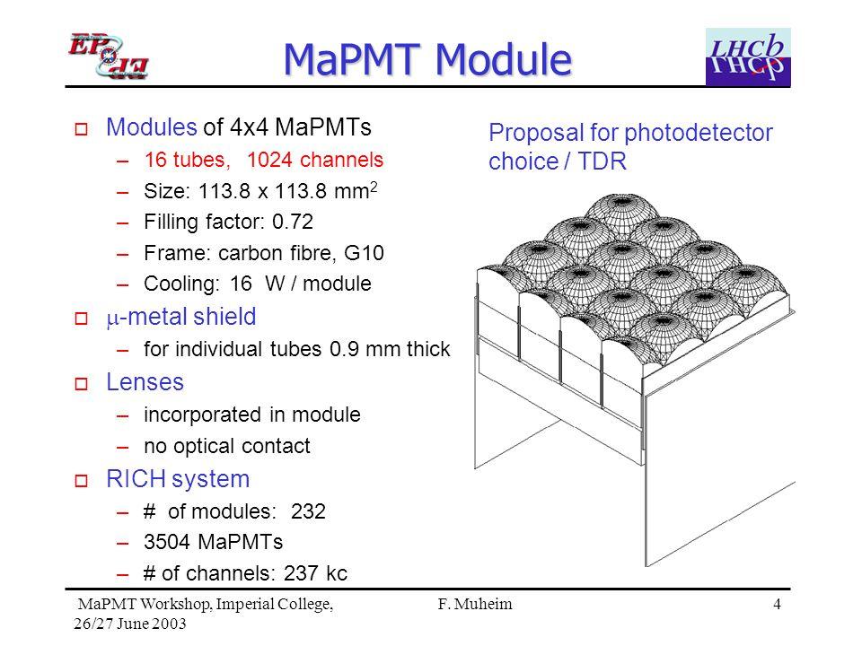 4 MaPMT Workshop, Imperial College, 26/27 June 2003 F.