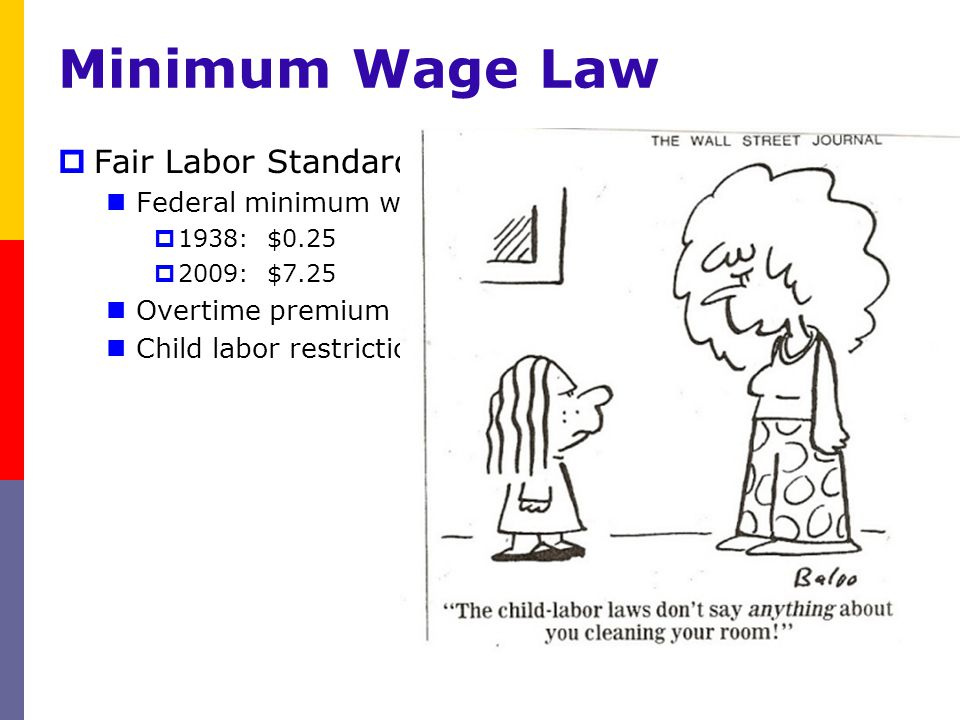 Fair Labor Standards Act (1938) established: Federal minimum wage 1938: $0.25 2009: $7.25 Overtime premium Child labor restrictions Minimum Wage Law O