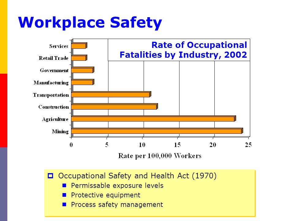 Workplace Safety Occupational Safety and Health Act (1970) Permissable exposure levels Protective equipment Process safety management Occupational Saf