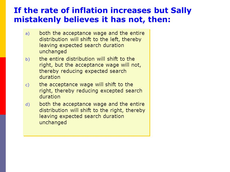 If the rate of inflation increases but Sally mistakenly believes it has not, then: a) both the acceptance wage and the entire distribution will shift
