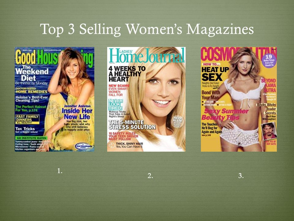 Top 3 Selling Womens Magazines 1. 2.3.