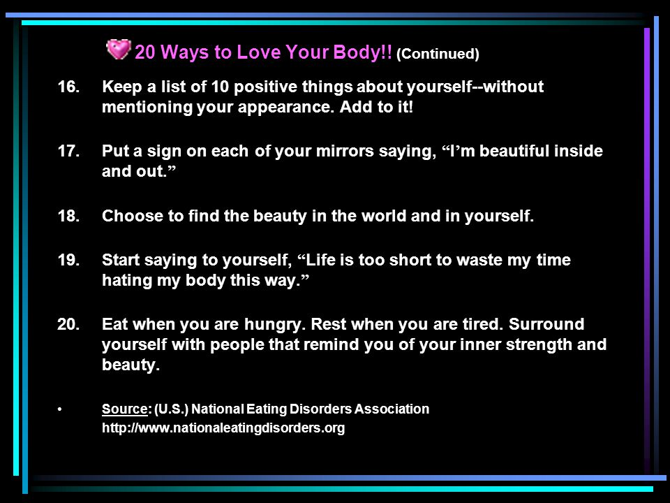 20 Ways to Love Your Body!.