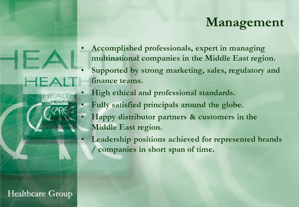 Healthcare Group Key Players Mr.Ali Mirza, CEO Mr.