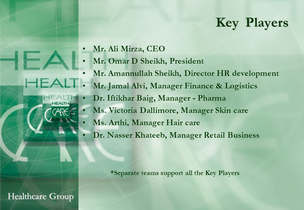 Healthcare Group Key Players Mr. Ali Mirza, CEO Mr. Omar D Sheikh, President Mr. Amannullah Sheikh, Director HR development Mr. Jamal Alvi, Manager Fi