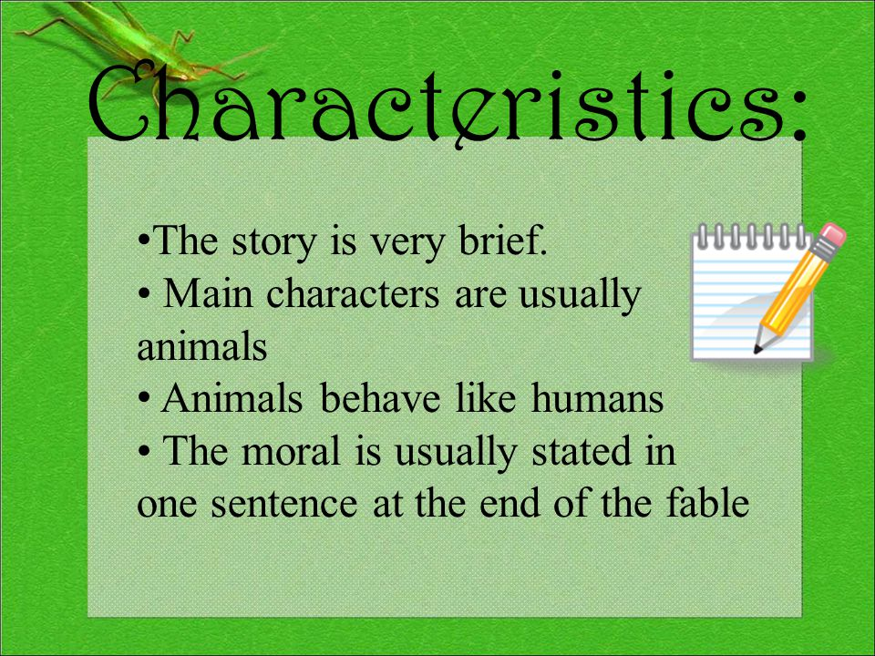 Definition: A short tale used to teach a moral lesson, often with animals as characters.
