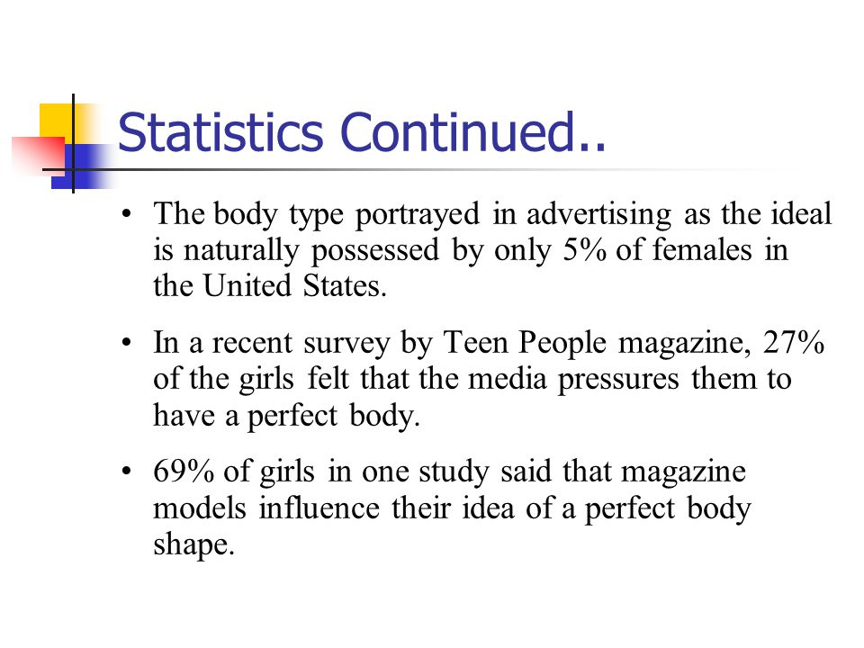 Statistics Continued.. The body type portrayed in advertising as the ideal is naturally possessed by only 5% of females in the United States. In a rec